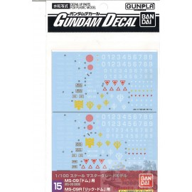 GUNDAM DECAL 15 MG DOM AND...